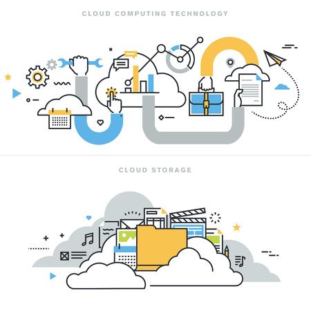 Płaska linia ilustracji wektorowych koncepcje technologii cloud computing, cloud przechowywania, rozwiązań typu cloud, bezpieczeństwa i dostępności, na stronie baner i strony docelowej.