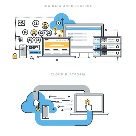 apoyo social: Línea de conceptos de diseño para la arquitectura plana grande de datos, tecnología de grandes datos, análisis de bases de datos, móvil de computación en nube, la plataforma de nube y soluciones, para la bandera sitio web y la página de destino. Vectores
