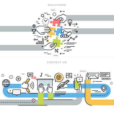 iletişim: Kişinin web afiş için Düz çizgi tasarım vektör çizim kavramları bize ve çözümleri web sayfası, şirket iletişim bilgileri, iş çözümleri ve hizmetler, danışmanlık, strateji ve planlama Çizim