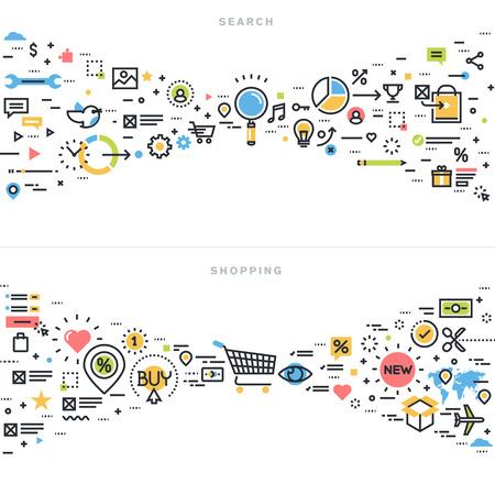 검색 결과, 검색 엔진 최적화, 웹 사이트 배너 및 방문 페이지에 대한 정보 찾기, 내용 분석, 쇼핑, 전자 상거래, 소매 쇼핑 활동, 플랫 라인 디자인 벡터