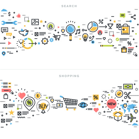 Línea plana ilustración de diseño vectorial conceptos de resultados de búsqueda, seo, búsqueda de información, análisis de contenido, de compras, comercio electrónico, la actividad comercial minorista, para la bandera sitio web y la página de destino. Foto de archivo - 47893156
