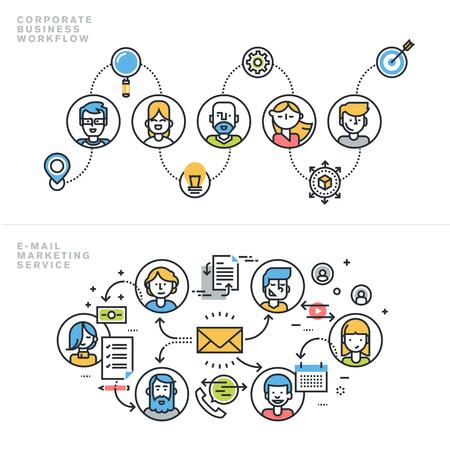 통신: 웹 사이트 배너 및 방문 페이지에 대한 기업 비즈니스 워크 플로우, 회사 프로필, 팀워크, 이메일 마케팅 서비스, 뉴스 레터, 고객 관계 관리, 플랫 라인 설계 개념.