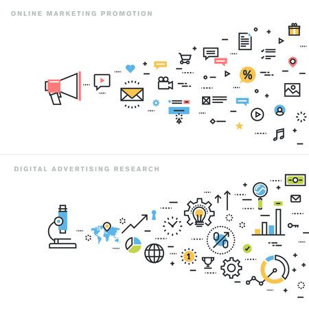 mercadotecnia: Diseño línea plana ilustración vectorial conceptos para la promoción en línea de marketing, investigación de publicidad digital, estudios de mercado, la comercialización del Internet, el comercio electrónico, para la bandera sitio web y la página de destino.