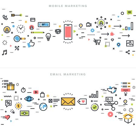 Vlakke lijn ontwerpconcepten voor mobiele marketing, e-mail marketing, online advertising, producten en diensten promotie, marketing oplossingen en app ontwikkeling, voor de website banner en landing page. Stock Illustratie