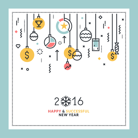 Business New Years flat line design greeting card. Vector illustration for website banner and marketing material. Çizim