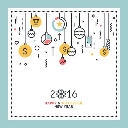 Zakelijke New Year's vlakke lijn ontwerp wenskaart. Vector illustratie voor website-banner en marketing materiaal. Stock Illustratie