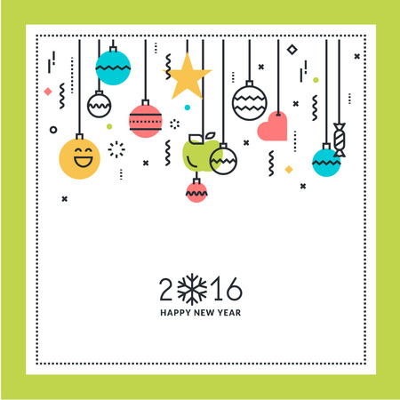line material: New Year flat line design greeting card. Vector illustration for website banner and marketing material.