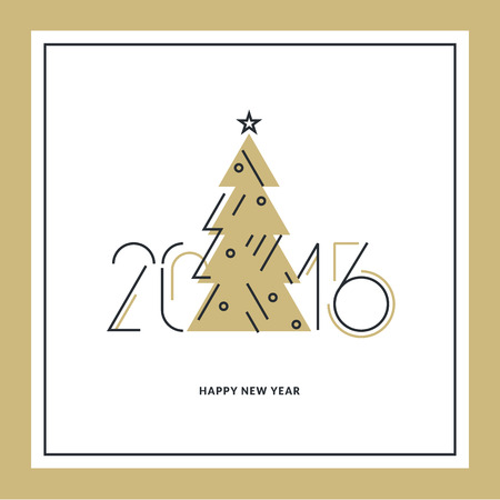 new ideas: Flat line design New Years greeting card and banner template. Illustration