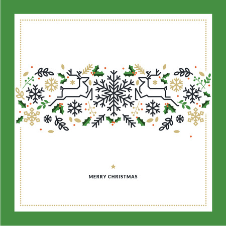 linea piatta disegno illustrazione vettoriale di Natale per biglietto di auguri, banner, materiale di marketing, fondo, carta da imballaggio, consistenza.