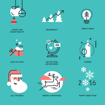 health technology: Set of flat line design Christmas and New Year signs for greeting cards, website banners and badges, marketing materials.
