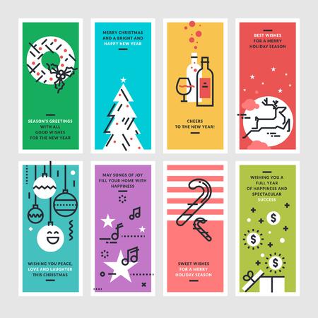 estaciones del año: Conjunto de diseño de la línea plana de Navidad y tarjetas de felicitación de Año Nuevo.
