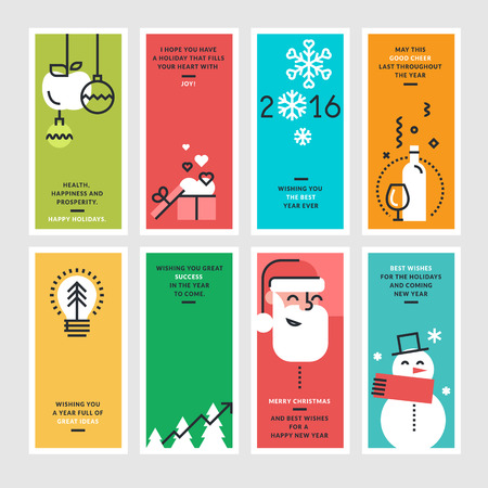 Set of flat line design concepts for New Year and Christmas greeting cards and banners. Illustration