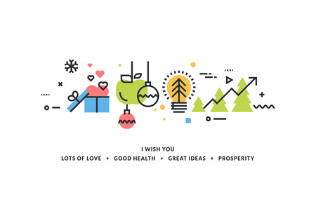 Christmas and New Year flat line design concept for greeting card and banner.