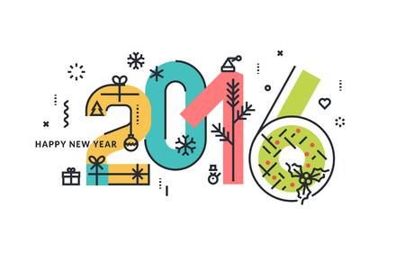 reno: A�o Nuevo y Navidad l�nea plana concepto de dise�o de tarjetas de felicitaci�n y la bandera.