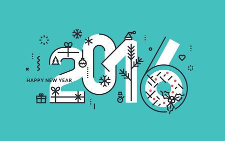 reno: Línea plana diseñar ilustración vectorial de Año Nuevo de tarjetas de felicitación y la bandera. Vectores