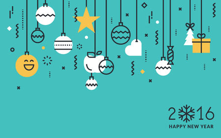 Flat line design New Years greeting card and web banner.