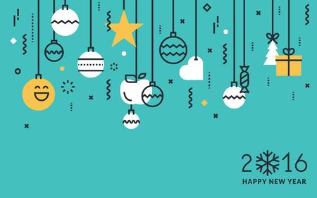 Vlakke lijn ontwerpen New Year's wenskaart en web banner. Stock Illustratie