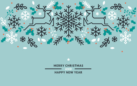 line material: Flat line design Christmas and New Year vector illustrations for greeting cards, banners, marketing material, background, wrapping paper.
