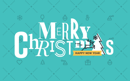 vector banner: Flat line design Christmas vector illustration for greeting card, banner, marketing material, background, wrapping paper.