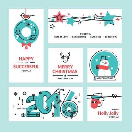 renna: Natale e Capodanno biglietti di auguri e striscioni. Serie di linea piatta illustrazioni disegno vettoriale. Vettoriali