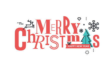 christmas concept: Christmas flat line design concept for greeting card and banner.