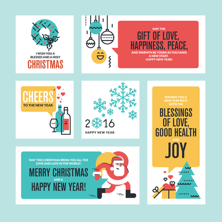 Christmas and New Year greeting cards and banners. Set of flat line design vector illustrations.