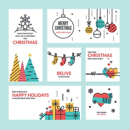 Set van vlakke lijn ontwerp van Kerstmis en Nieuwjaar wenskaarten.