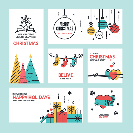 Set of flat line design Christmas and New Years greeting cards.