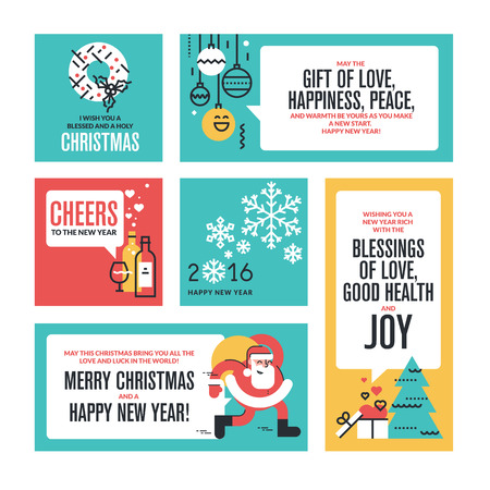 new years: Christmas and New Years collection. Flat line design vector illustrations for greeting cards, website banners and badges, gift tags and marketing material. Illustration