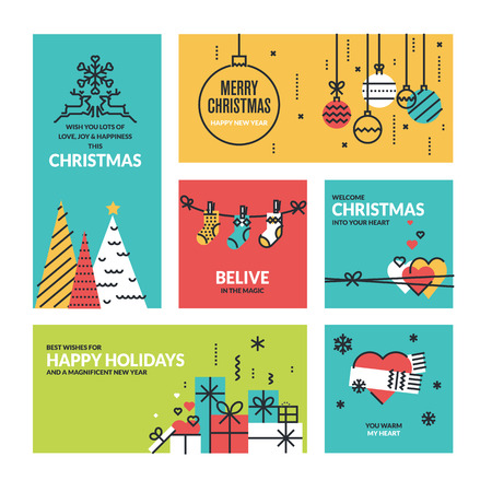 Kerst en Oud en Nieuw collectie. Vlakke lijn ontwerp vector illustraties voor wenskaarten, website banners en badges, giftmarkeringen en marketing materiaal.