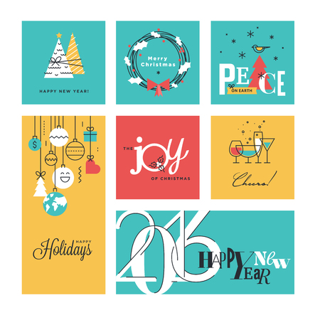 web icons: Christmas and New Years collection. Flat line design vector illustrations for greeting cards, website banners and badges, gift tags and marketing material. Illustration