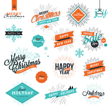 starburst: Set of Christmas and New Years signs for greeting cards, gift tags, Christmas sale, web design, product promotion, e-commerce and marketing material.