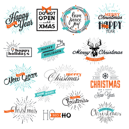 material: Set of vintage Christmas and New Years labels and elements for greeting cards, gift tags, Christmas sale, web design, product promotion, e-commerce and marketing material.
