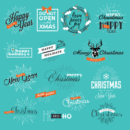new product on sale: Christmas and New Years vintage style signs for greeting cards, gift tags, Christmas sale, web design, product promotion, e-commerce and marketing material.