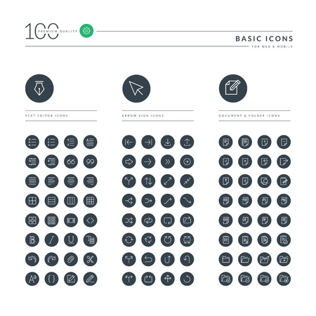 social icon: Set of thin line basic web icons for office, arrow sign, document and folder, text editor. Icons for website, mobile website and app design.