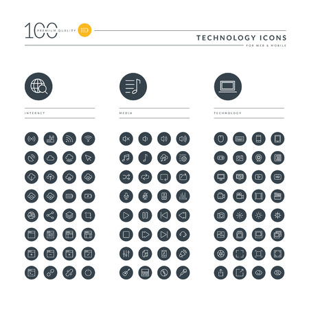 Set of thin line web icons for technology, internet, networking, cloud computing, web development, audio and video media, electronic devices. Icons for website, mobile website and app design. Illustration