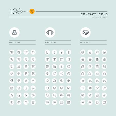 Dunne lijn web icons collectie voor contact met ons op, communicatie, ondersteuning, kantoor. Pictogrammen voor web en app-design.