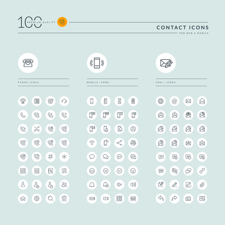 round icons: Thin line web icons collection for contact us, communication, support, office. Icons for web and app design.