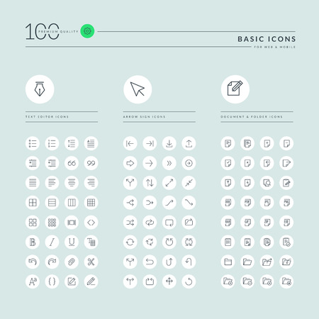mobile app: Basic thin line web icons collection. Icons for web and app design. Illustration