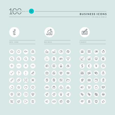 細線網頁圖標收集信息,商業和金融,網上購物,辦公。圖標Web和應用程序的設計。