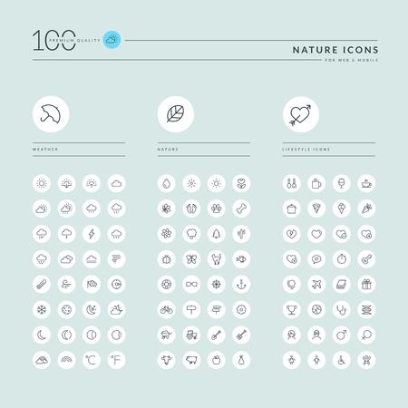 Dunne lijn web iconen collectie voor weersvoorspelling, natuur en dieren, voedsel en landbouw, restaurant, sport en vrije tijd, gezondheidszorg, toerisme. Pictogrammen voor web- en app-ontwerp.