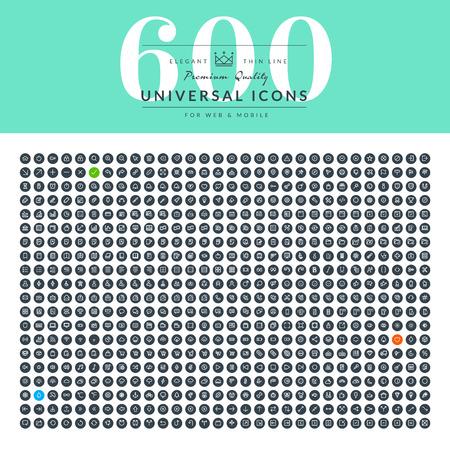 kommunikation: Uppsättning av tunna linjen webb ikoner för företag Illustration