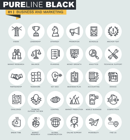 Set of thin line web icons of business and marketing. Premium quality icons for website, mobile website and app design. Ilustrace
