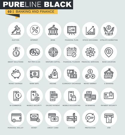 Set van dunne lijn web iconen van het bankwezen en financiën. Premium kwaliteit iconen voor een website, mobiele website en app-design. Vector Illustratie