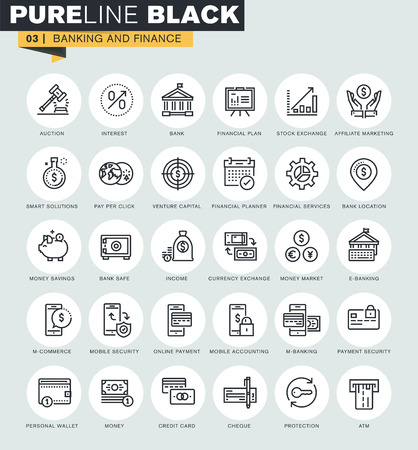 Zestaw ikon cienkich linii internetowej bankowości i finansów. Ikony jakości premium dla strony internetowej, mobilnej strony internetowej i aplikacji projektu. Ilustracje wektorowe