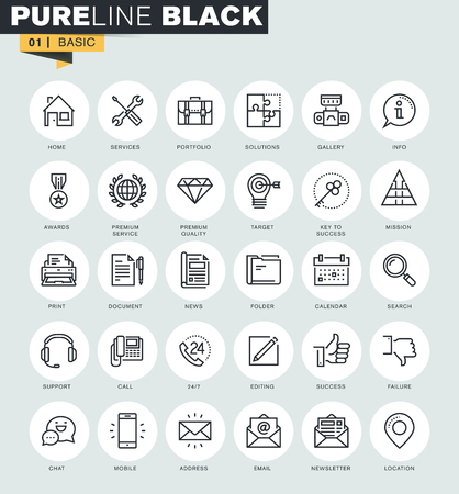 Set of thin line web icons for communication, information, service and office. Premium quality icons for website, mobile website and app design. Vectores