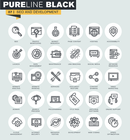 Set of thin line web icons of SEO and development. Premium quality icons for website, mobile website and app design. Ilustrace