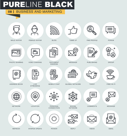Set of thin line web icons of internet marketing and social network. Premium quality icons for website, mobile website and app design.