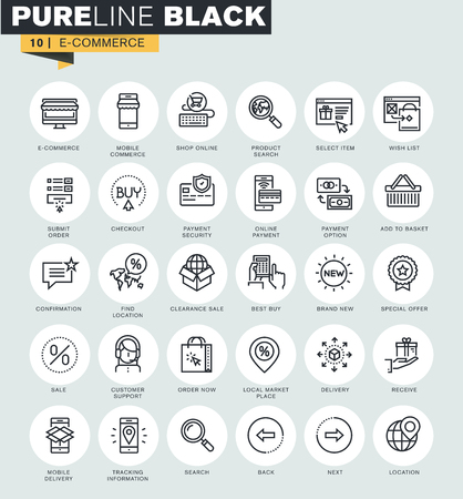 Set of thin line web icons of e-commerce. Premium quality icons for website, mobile website and app design.
