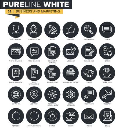 web icons ligne mince collection pour le marketing numérique, la communication en ligne, les médias sociaux et le réseau.